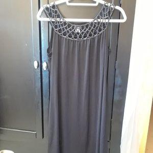 Enfocus Black Satin Neckline Stretch Dress 12
